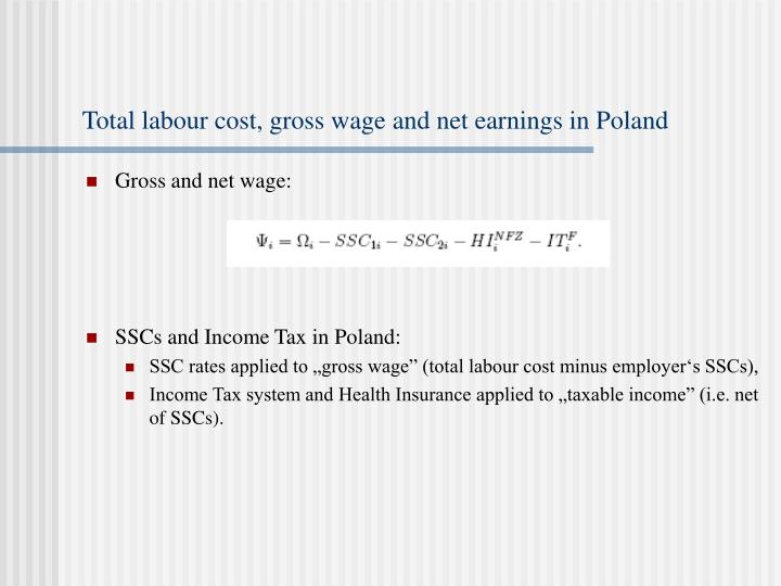 Total labour cost, gross wage and net earnings in Poland