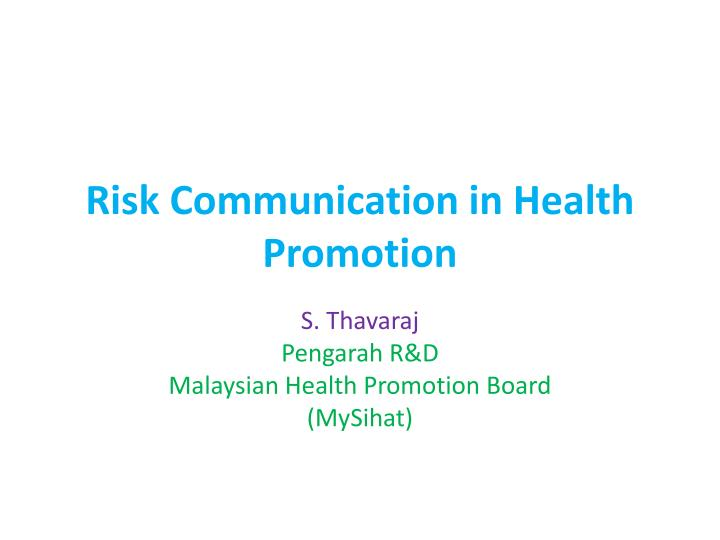 risk communication in health promotion n.