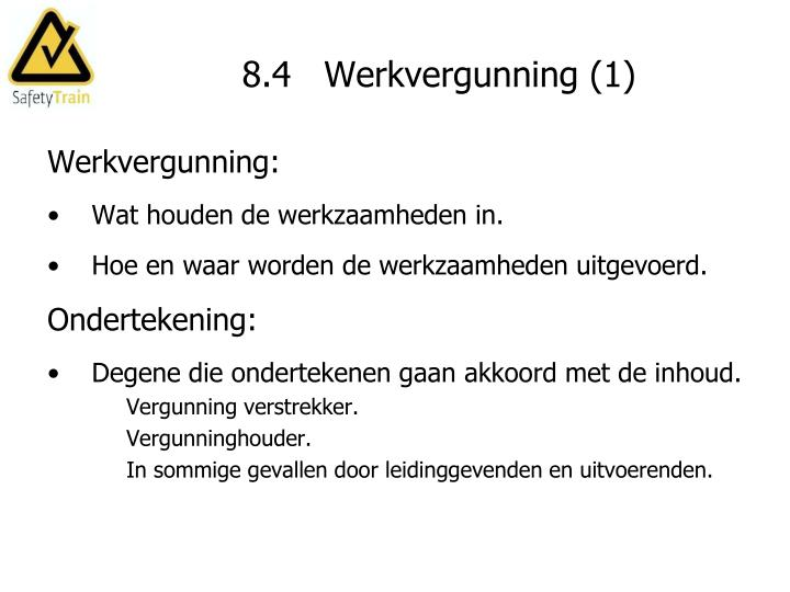 8.4   Werkvergunning (1)