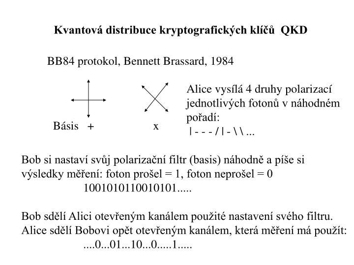 Kvantová distribuce kryptografických klíčů  QKD