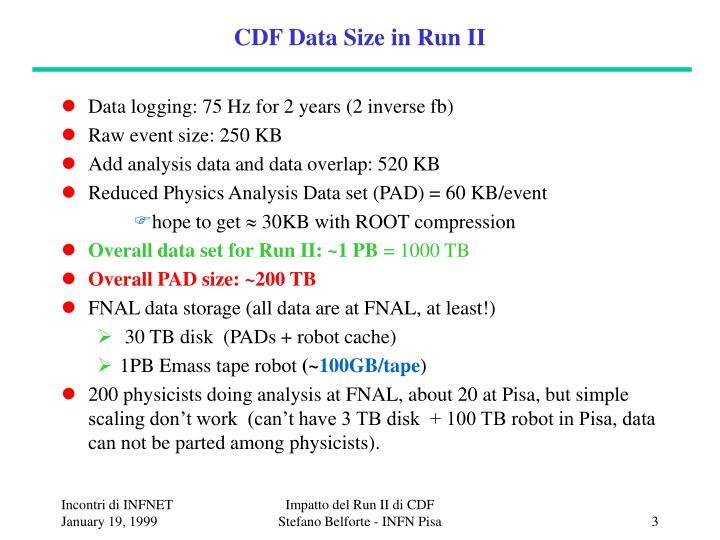Cdf data size in run ii