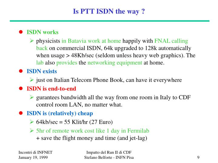 Is PTT ISDN the way ?