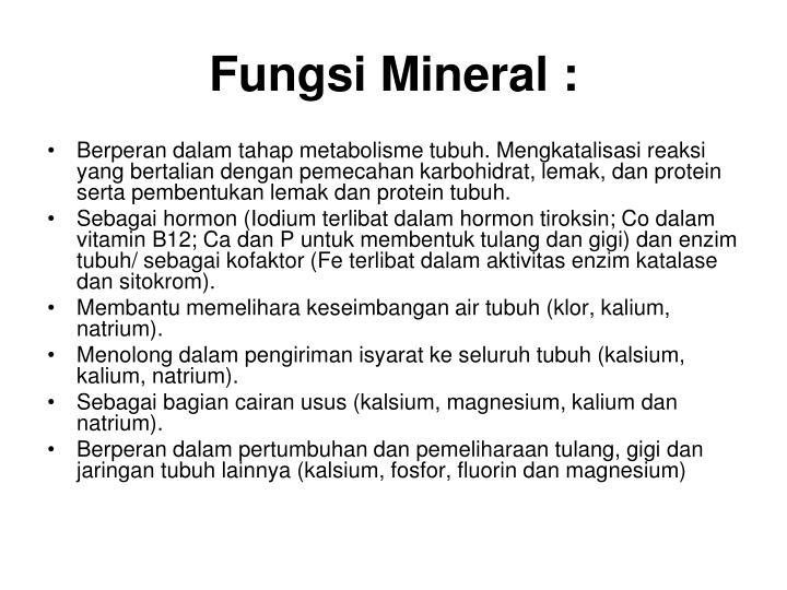 Fungsi Mineral :