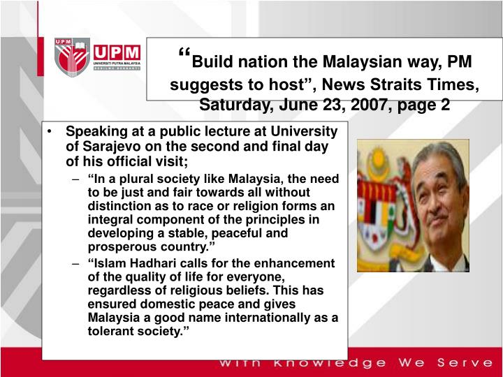 Build nation the malaysian way pm suggests to host news straits times saturday june 23 2007 page 2