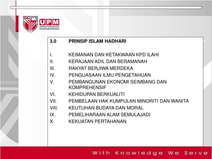 3.0PRINSIP ISLAM HADHARI