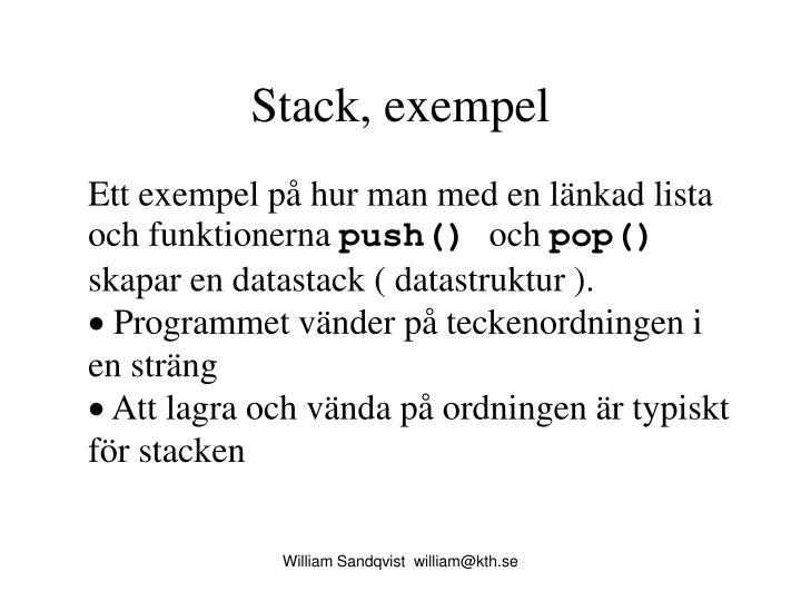 Stack, exempel