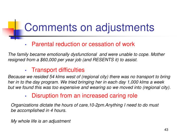 Comments on adjustments