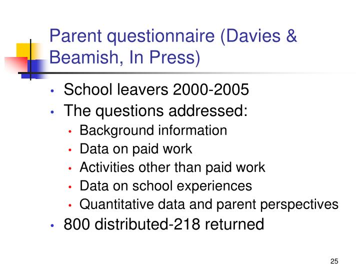 Parent questionnaire (Davies & Beamish, In Press)