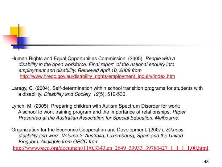 Human Rights and Equal Opportunities Commission. (2005).