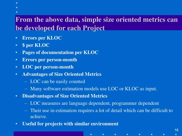 From the above data, simple size oriented metrics can be developed for each Project