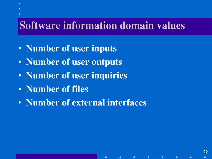 Software information domain values