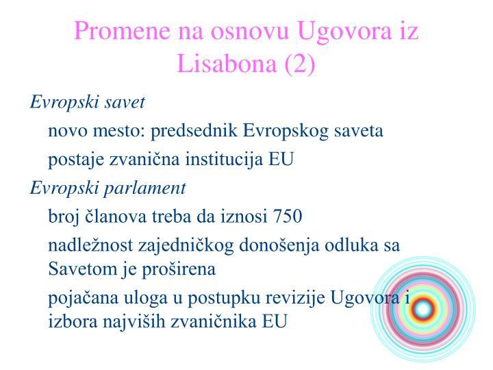 Promene na osnovu Ugovora iz Lisabona (2)