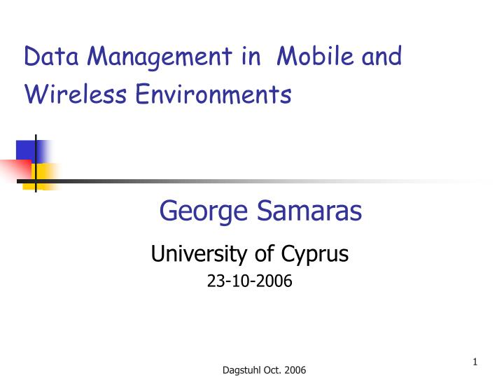 Data Management in  Mobile and