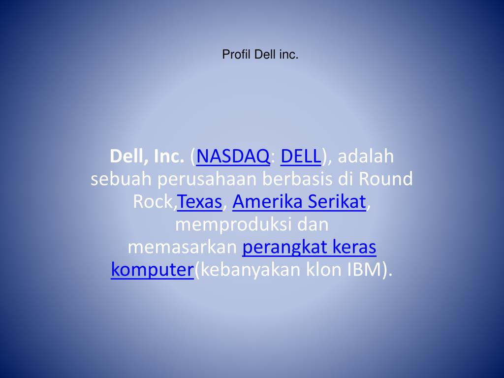 Ppt Profil Dell Inc Powerpoint Presentation Free Download Id 4174903