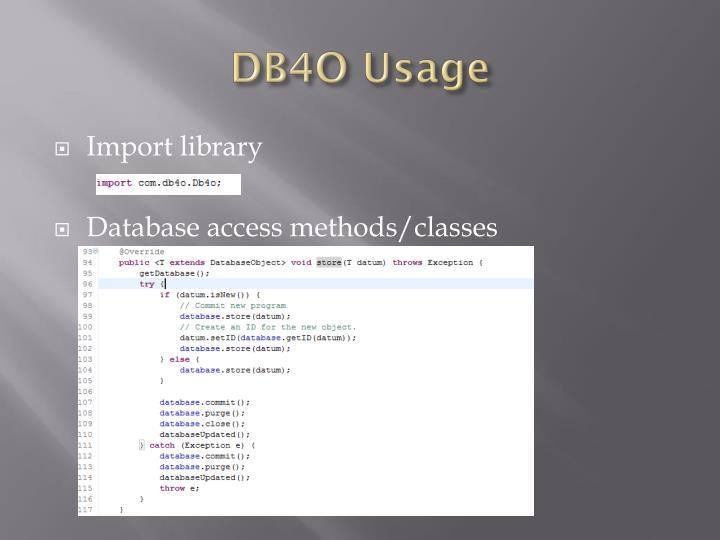 DB4O Usage