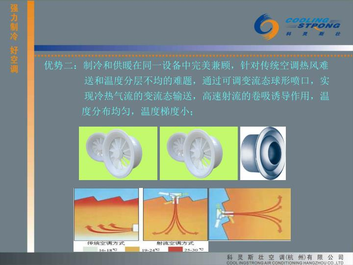 优势二:制冷和供暖在同一设备中完美兼顾,针对传统空调热风难