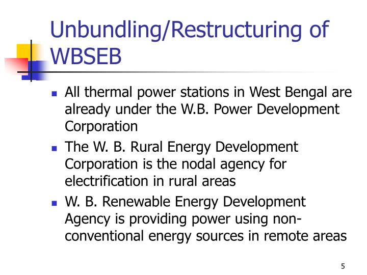 Unbundling/Restructuring of WBSEB