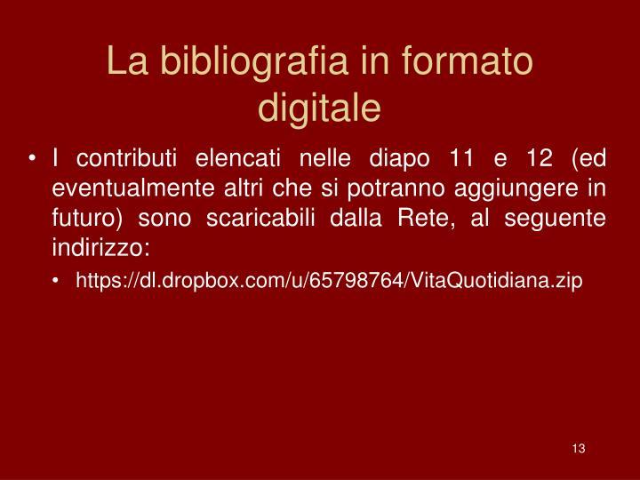 La bibliografia in formato digitale