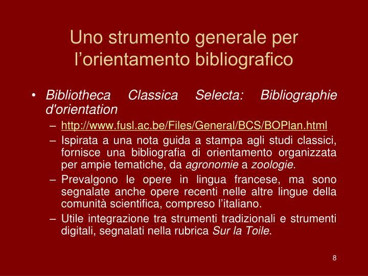 Uno strumento generale per l'orientamento bibliografico