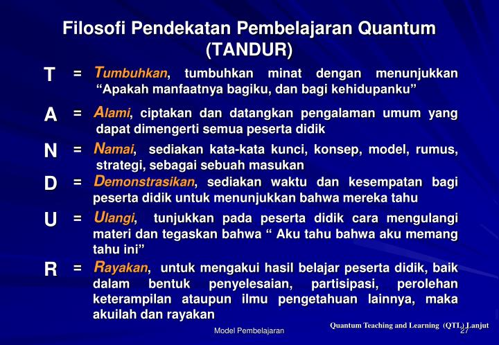 Filosofi Pendekatan Pembelajaran Quantum (TANDUR)