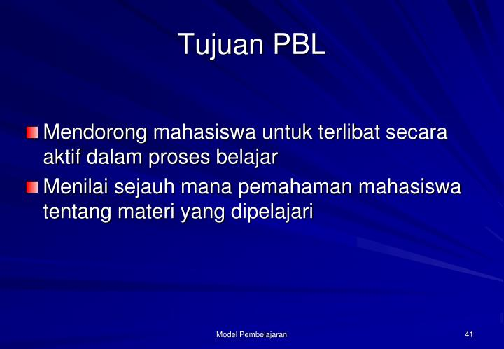 Tujuan PBL