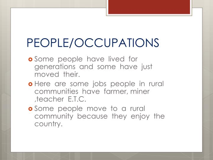 PEOPLE/OCCUPATIONS