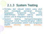 2 1 3 system testing