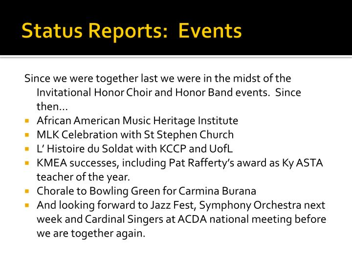 status reports events n.