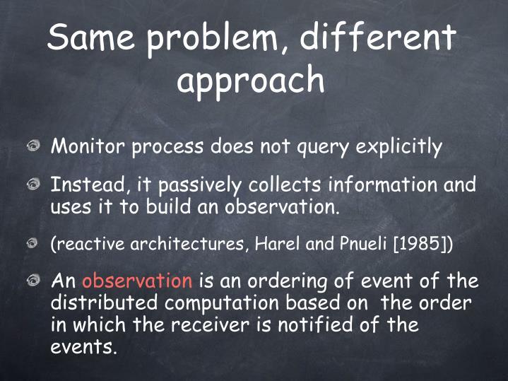 Same problem, different approach