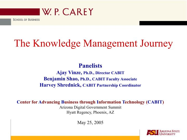 the knowledge management journey n.