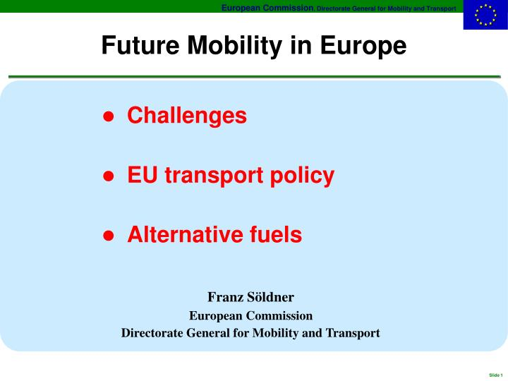Future mobility in europe