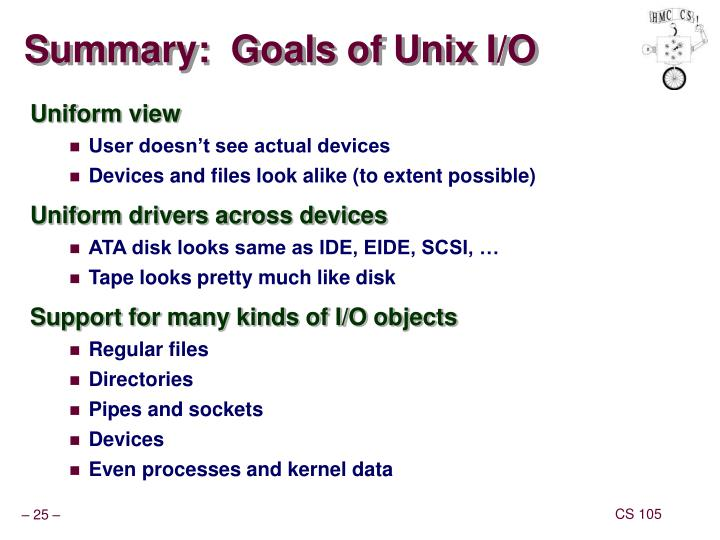 Summary:  Goals of Unix I/O