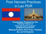 post harvest practices in lao pdr