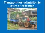 transport from plantation to point of collection