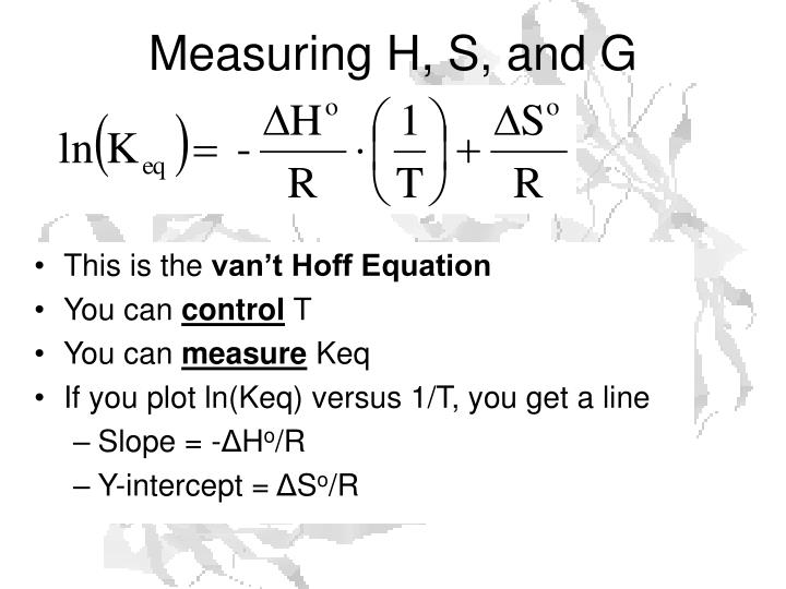 Measuring H, S, and G