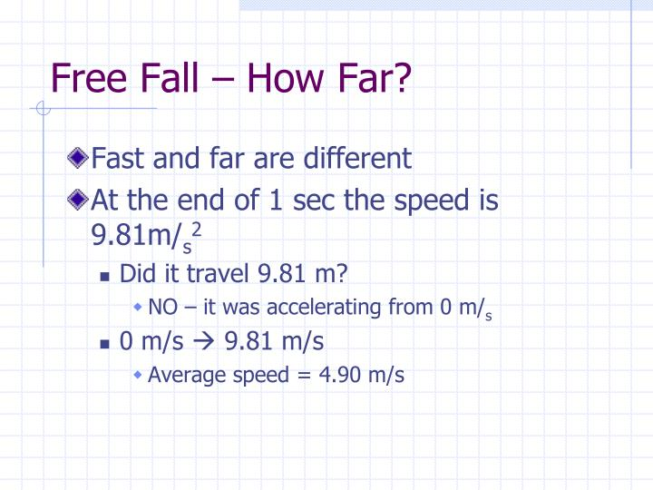 Free Fall – How Far?