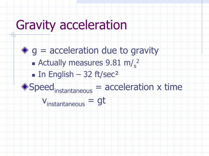 Gravity acceleration