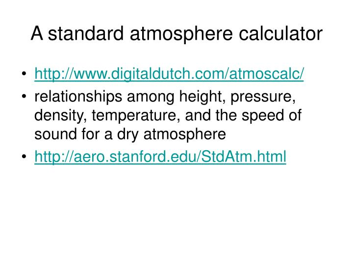 A standard atmosphere calculator