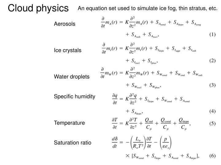 An equation set used to simulate ice fog, thin stratus, etc.