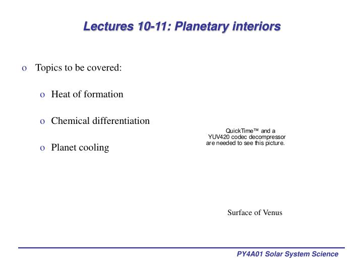 lectures 10 11 planetary interiors n.