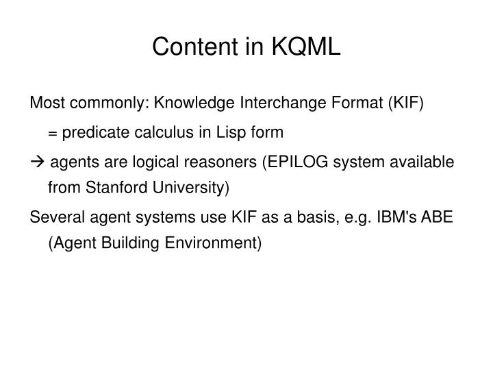 Content in KQML