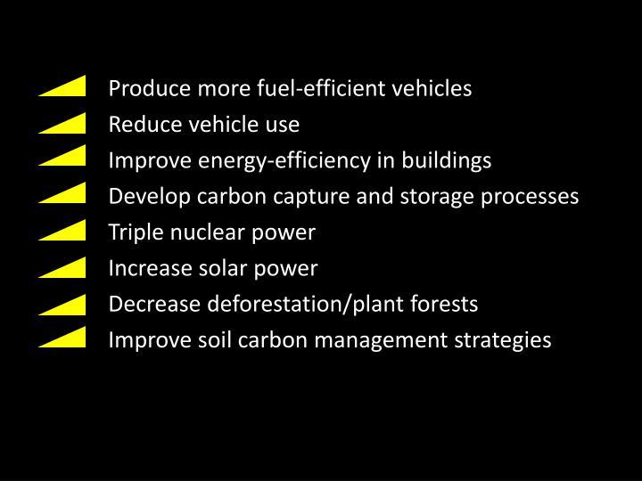 Produce more fuel-efficient vehicles