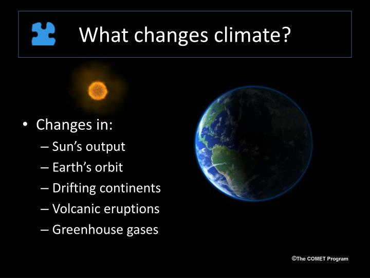What changes climate?