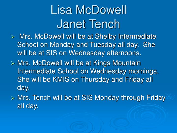 Lisa mcdowell janet tench