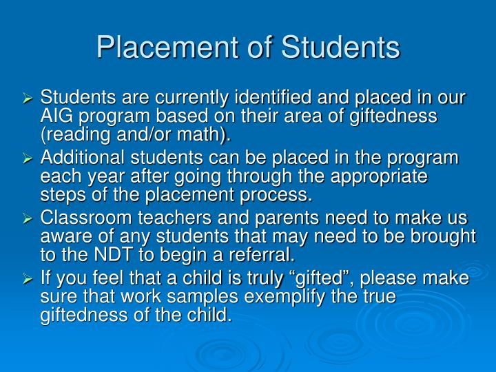 Placement of Students