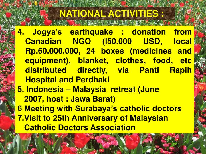 NATIONAL ACTIVITIES :