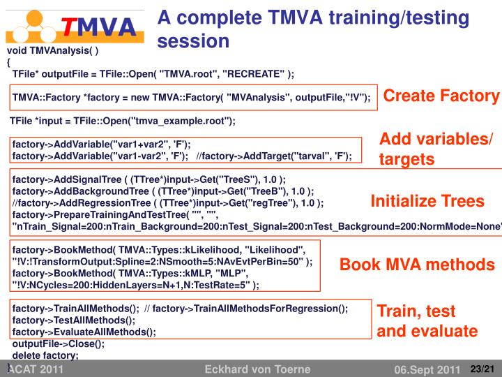 A complete TMVA training/testing session
