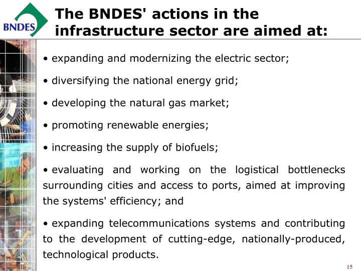 The BNDES' actions in the infrastructure sector are aimed at: