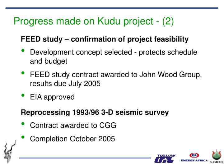 Progress made on Kudu project - (2)