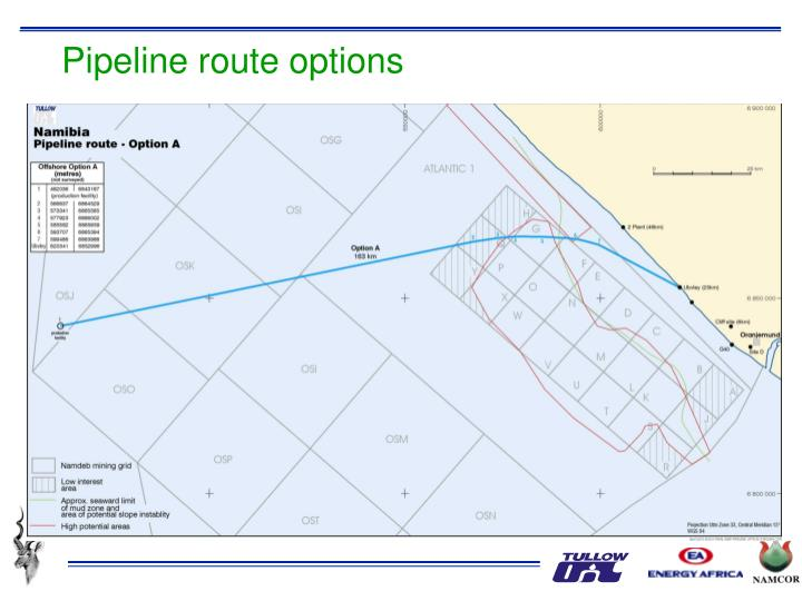 Pipeline route options